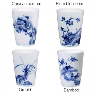 Blue and White Porcelain Cup Set-4PCS-Plum blossoms,Orchid,Bamboo and Chrysanthemum-D