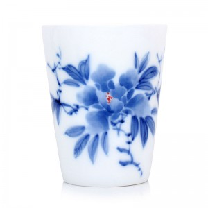 Blue and White Porcelain Cup-Underglaze Red-Peony-Tall