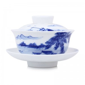 Blue and White Porcelain Gaiwan-Fishing on the River