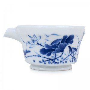 Blue and White Porcelain Serving Pitcher-Likes Lotus Saying-B
