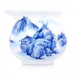 Blue and White Porcelain Serving Pitcher-Pavilion at the Foot of the Mountain-A