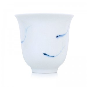 Blue and White Porcelain Standing Cup-Fishpond-Tall