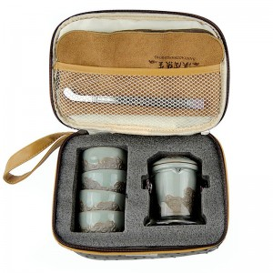 Mr.Zhang-Imperial Jade Glaze Pottery and Glass Portable Tea Set-Flowing Water