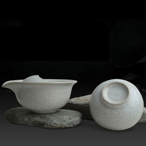 Mr.Zhang-Ru Kiln Quick Tea Set-Lotus Leaf-Moonlight White