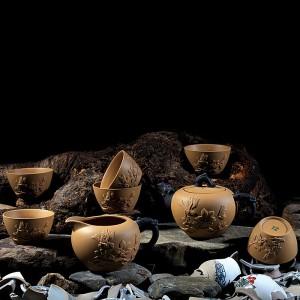 Mr.Zhang-Zinnober Pottery Tea Set-Magpie on Branch-8 Items/Set