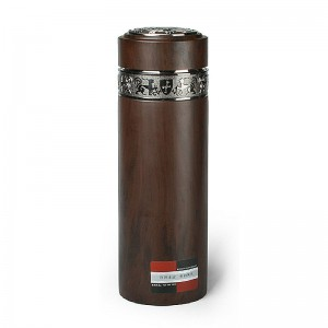 Stainless Steel Vacuum Insulated Tumbler with Purple Clay Liner inside-Ebony Grain Coating