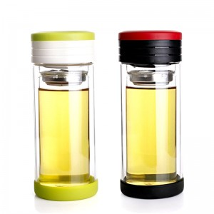 Double-wall Glass Travel Tumbler with Stainless Steel Filter and Tea Storage Cell-Lvzhu