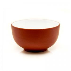 Zi Sha-Red Clay Tea Cup White Glaze inside-Moon Pool-35ml