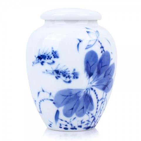 Blue and White Porcelain Caddy-Mandarin Fish in Lotus Pond