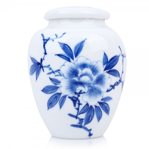 Blue and White Porcelain Caddy-Peony