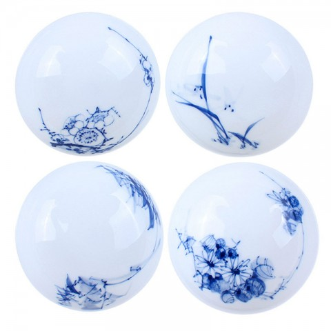 Blue and White Porcelain Cup Set-4PCS-Plum blossoms,Orchid,Bamboo and Chrysanthemum-B