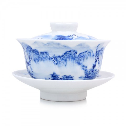 Blue and White Porcelain Gaiwan-High Mountains with Deeply Gorges