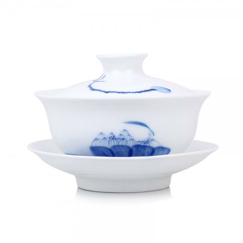 Blue and White Porcelain Gaiwan-Lotus Throne