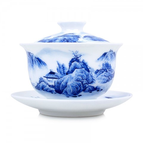 Blue and White Porcelain Gaiwan-Pavilion at the Foot of the Mountain