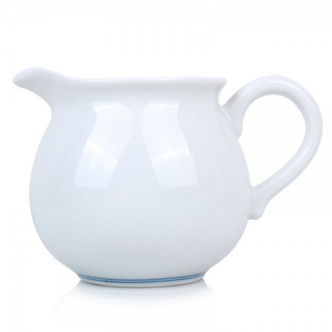 Blue and White Porcelain Serving Pitcher-Blue Circles