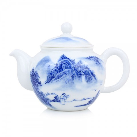 Blue and White Porcelain Tea Pot-Call from the Far away Mountains