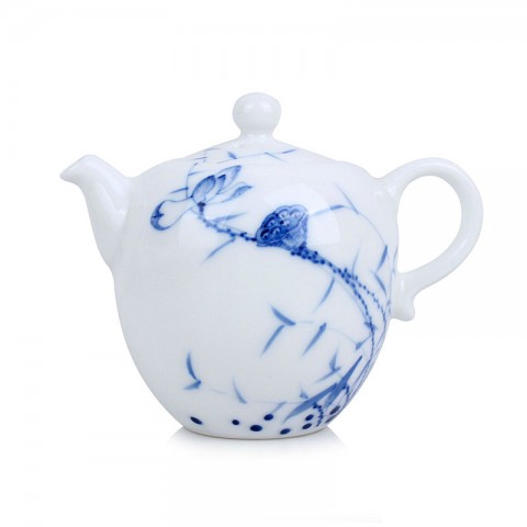 Blue and White Porcelain Tea Pot-Likes Lotus Saying