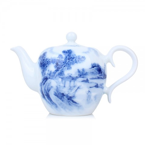 Blue and White Porcelain Tea Pot-Pavilion under the Shade of Tree