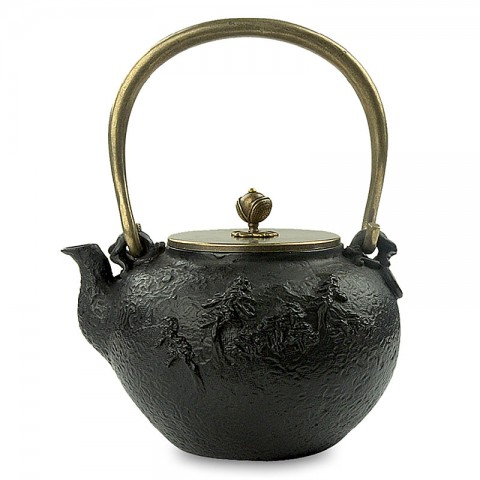Cast Iron Kettle with Copper Lid, Handle and Knob-High-temperature Oxidation-Farmhouse in Pine Forest