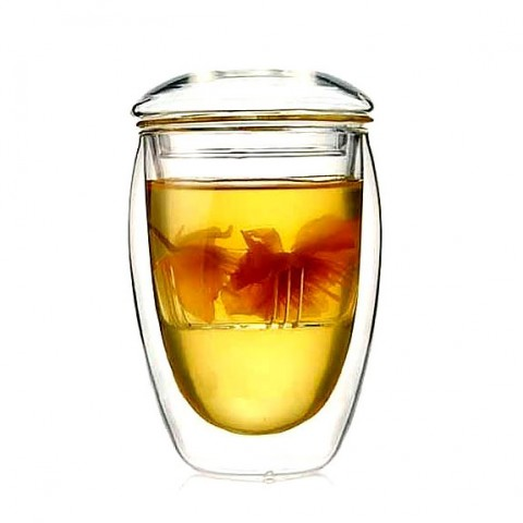 Double-wall Glass Cup with Glass Tea Strainer-Best Tea Mate