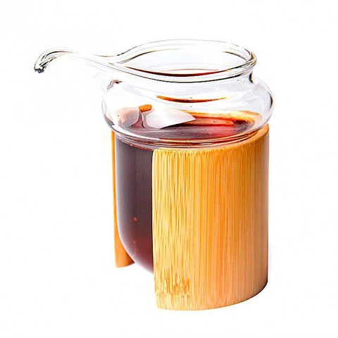 Glass Serving Pitcher with Bamboo Case-River Bank