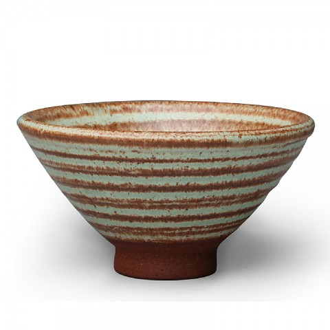 Jun Kiln Pottery Tea Cup-Straw Hat-Green Circles
