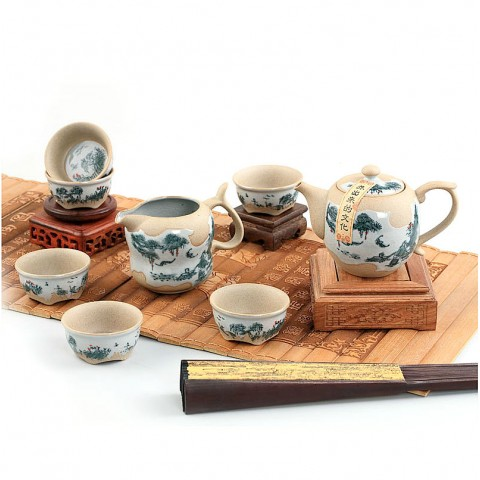 Mr.Zhang-Blue and White Pottery Tea Pot Set-Wind in the Pines-8 Items/Set