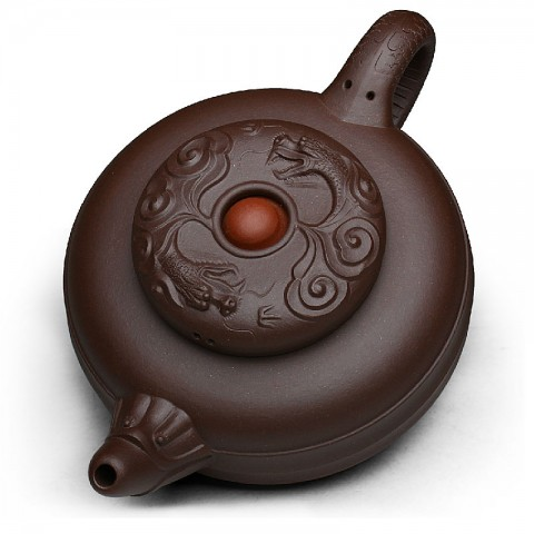 Zi Sha-Purple Clay Tea Pot-450ML-Double Dragon Playing a Ball