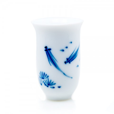 Blue and White Porcelain Fragrance Smelling Cup-Fishes Playing in Pond