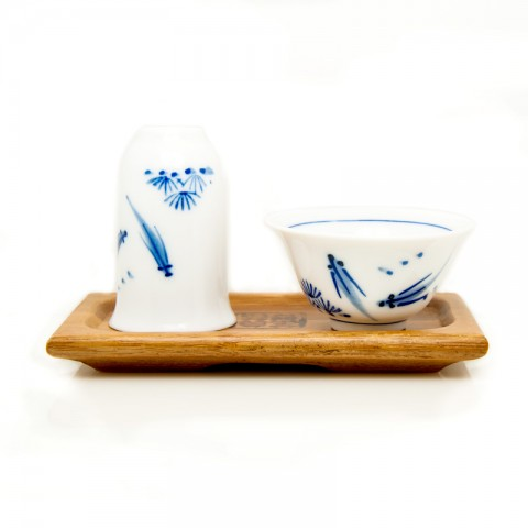 Blue and White Porcelain Tasting Cup+Fragrance Smelling Cup-2PCS Cup-set-Fishes Playing in Pond