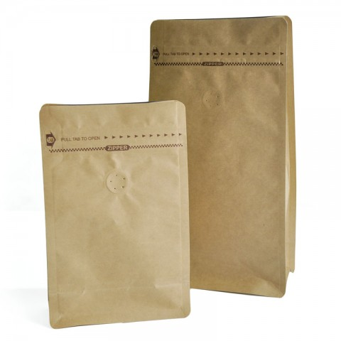 Brown Kraft Paper with Aluminium Foil Lamination Stand-up Tap-open Zipper Pouch/Bag with One-way Degassing Valve