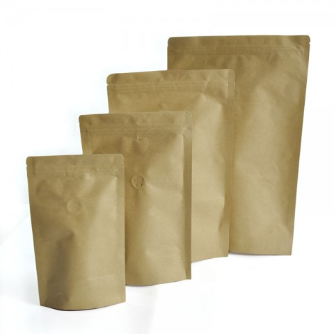 Brown Kraft Paper with Aluminium Foil Lamination Stand-up Zipper Pouch/Bag with One-way Degassing Valve