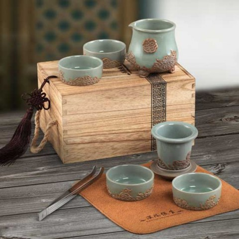 Mr.Zhang-Imperial Jade Glaze Pottery Portable Tea Set-Drifting Clouds