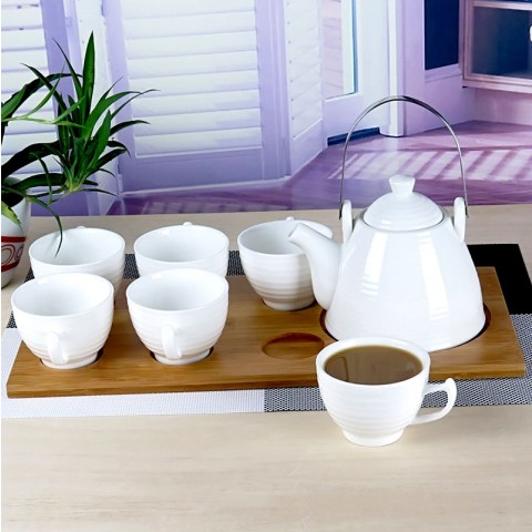 White Porcelain Afternoon Tea Set-Moroccan-A