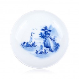 Blue and White Porcelain Cup-Fishing Season