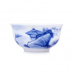 Blue and White Porcelain Cup-Pavilion behinds the Rock