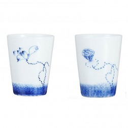 Blue and White Porcelain Cup Set-2PCS-Lotus and Seedpod