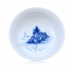 Blue and White Porcelain Cup-a Flock of Birds Flying in the River Mist
