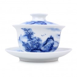 Blue and White Porcelain Gaiwan-Ancient Temple in the Dense Forests of the High Mountain