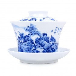 Blue and White Porcelain Gaiwan-Cliff Falls