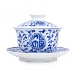 Blue and White Porcelain Gaiwan-Embraced by Good Fortune