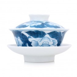 Blue and White Porcelain Gaiwan-Hibiscus Glory
