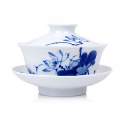 Blue and White Porcelain Gaiwan-Likes Lotus Saying-Wide