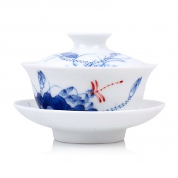 Blue and White Porcelain Gaiwan-Underglaze Red-Dragonfly on Lotus