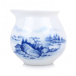 Blue and White Porcelain Serving Pitcher-Farmhouse under the Tree, Bridge on River and Hills Beyond