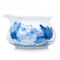 Blue and White Porcelain Serving Pitcher-Lotus In Cup