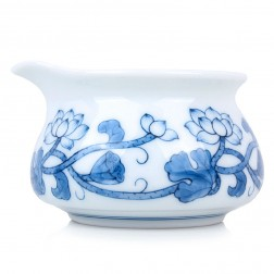 Blue and White Porcelain Serving Pitcher-Lotus Vine