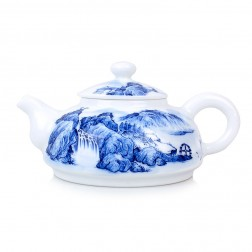 Blue and White Porcelain Tea Pot-Farmhous, Waterwheel and Hills Beyond-A