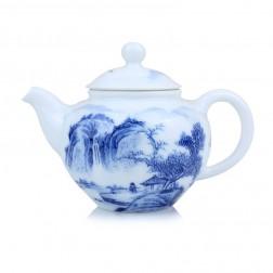 Blue and White Porcelain Tea Pot-Hills on the River