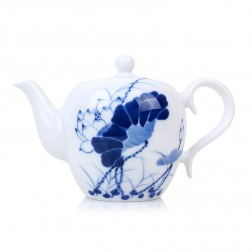 Blue and White Porcelain Tea Pot-Lotus in Full Bloom-B